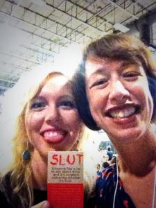 Us, keepin' it classy with the help of one of the fabulous bookmarks for her book.